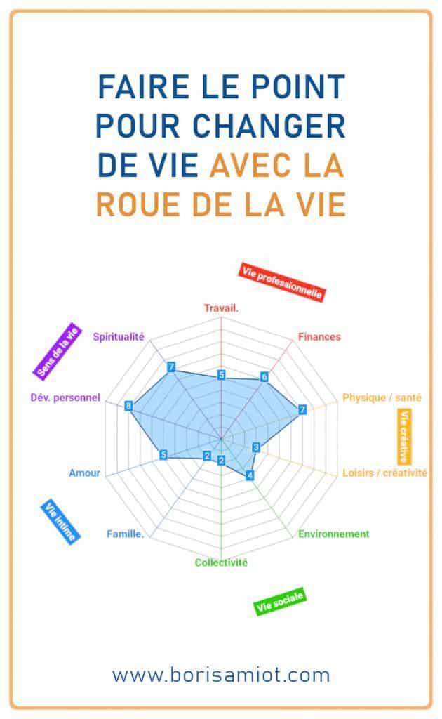 Faire le point pour changer de vie avec la roue de la vie - Image du graphique obtenu sur www.borisamiot.com